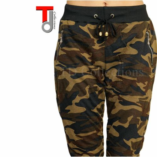 New Camouflage Camo Army Green Print Cropped Capri Legging joggers USA