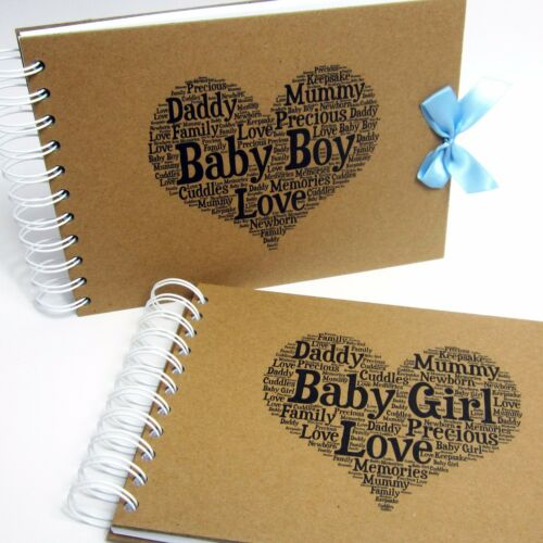 New Born Photo Album Personalised Baby Shower  A5 A4 Scrapbook First Year
