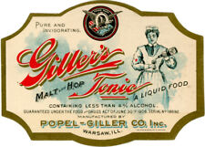 Pre-Prohibition Giller's Tonic Bottle Label  Popel-Giller Co. Brewery Warsaw IL