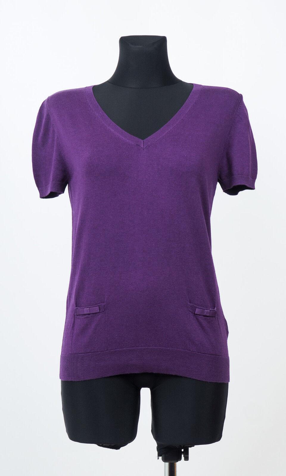 Massimo Dutti Womens Purple Short sleeved Silk Cotton Cashmere Sweater Size L