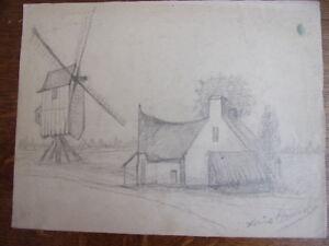 2 Dessins Au Crayon, Moulin Et Chaumière, Paysage. Circa 1940 Les Clients D'Abord