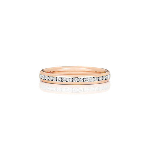 9ct pink gold Ladies Channel Set Diamond Half Eternity Ring