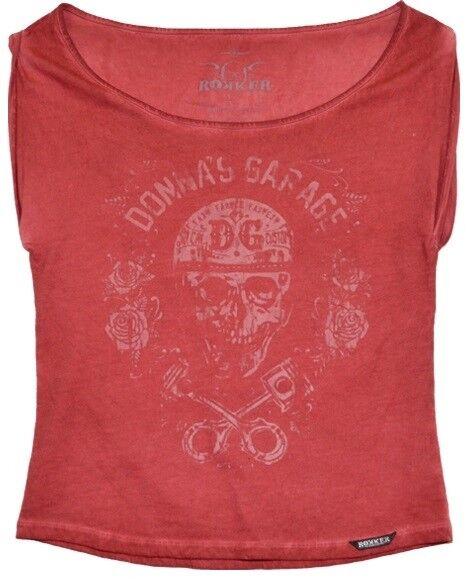 Rokker PISTON rosas Donna t shirt ROSSO COOL donne Biker T SHIRT per ogni giorno