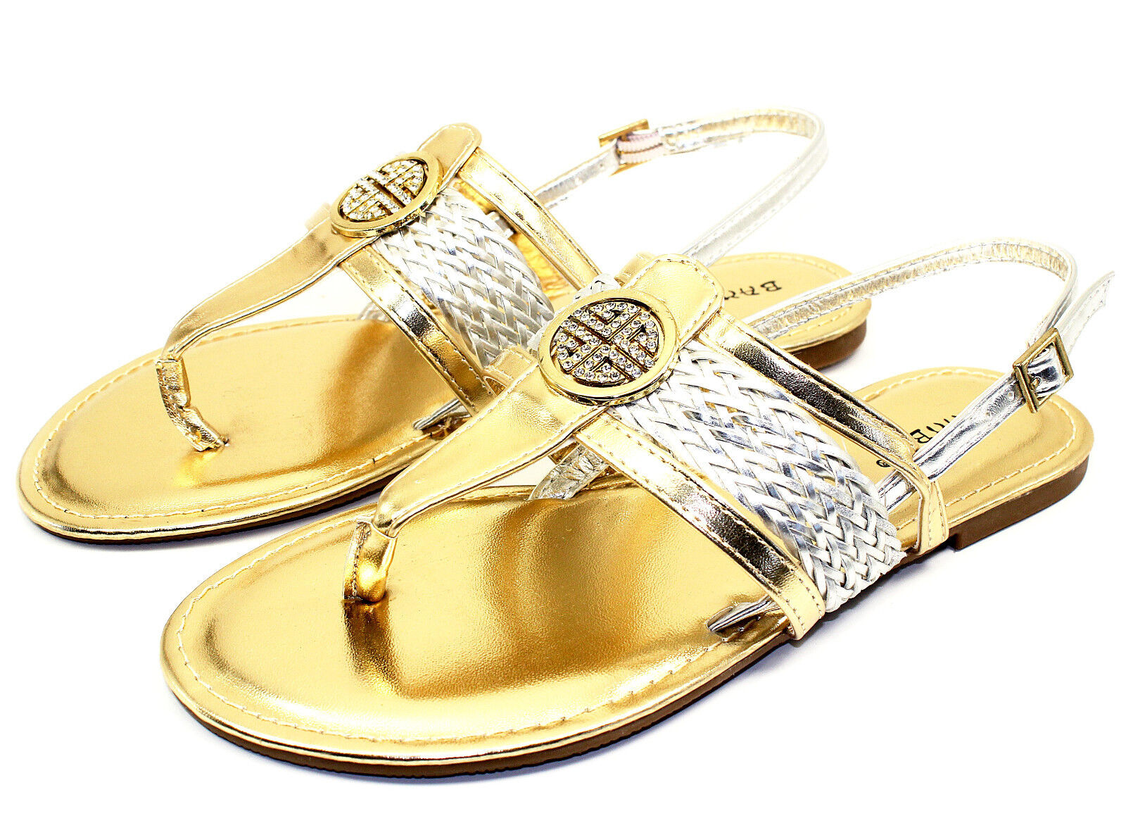 Nadya-15 Gladiator Buckles Shoes Comfort Flats Strappy Sandals Women Shoes Buckles Gold 6 2bc84e