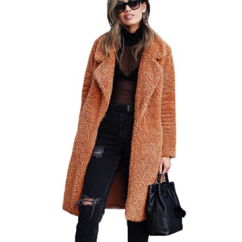 Damen Teddyfell Fleecejacke Parka Kuscheljacke Cardigan Tops Winterjacke Outwear