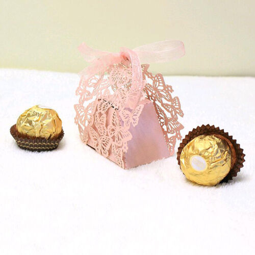 10//50//100 Lace Laser Cut Cake Candy Gift Boxes with Ribbon Wedding Favor Boxes