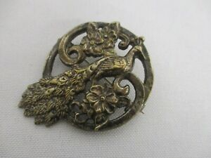 VINTAGE-STERLING-SILVER-CIRCLE-BROOCH-PIN-with-EXOTIC-PEACOCK-BIRD-2-034