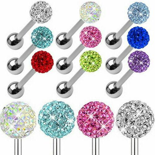 Labios Piercing Zarcillos de Barra de bola de cristal Cuerpo de moda 14g Acero Quirúrgico Lengua