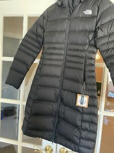 NWT Womens XS S The North Face TNF Metro 2 Parka Long Down Warm Jacket - Black