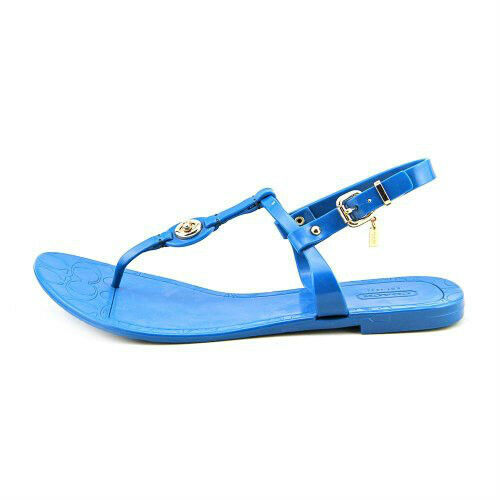New women's COACH New Pier Shiny Jelly Open Toe Thongs Sandals Shoes 7 teal