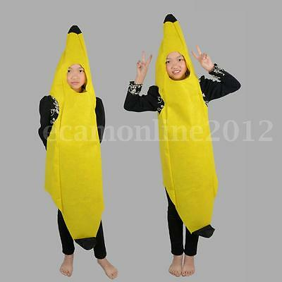 Banana Fruit Costume Fancy Dress Fun Show Stage Party Outfit Child Adult Unisex