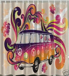 Hippie Bus Fabric SHOWER CURTAIN Flowers Peace Vintage