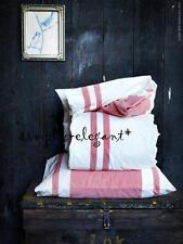 New Ikea KING Quilt Cover Duvet Cover & Pillowcases White Red Stripe Bjornloka
