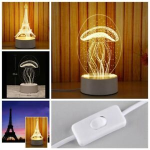 3d panel acrylic led night light table desk lamp bedroom home decor image is loading 3d panel acrylic led night light table desk aloadofball Choice Image
