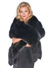 Womens Real Fox Fur Cape Wrap Stole Black - Double Fox Trim