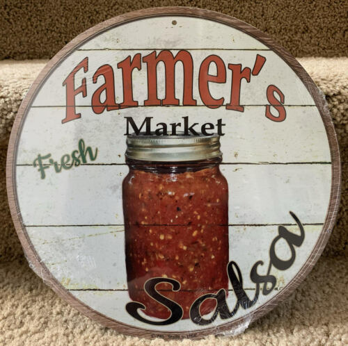 "Farmers Market Salsa 12/"" Round Metal Kitchen Sign Novelty Retro Home Wall Decor"