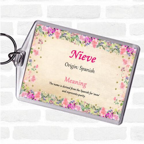 Nieve nom signifiant Sac Tag Keychain Porte-clés Floral
