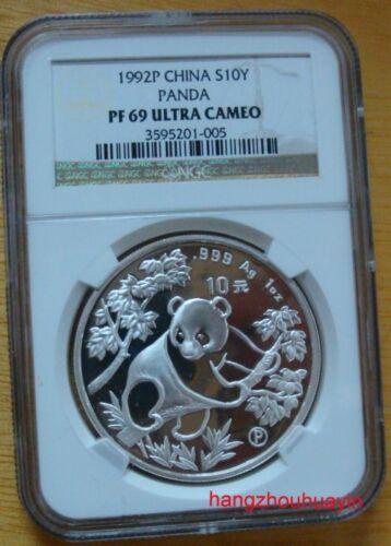 1992 1oz NGC PF69 silver panda coin proof