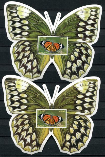 Laos Lao 2003 Schmetterlinge Butterflies Papillon Farfalla Block 191 A B MNH