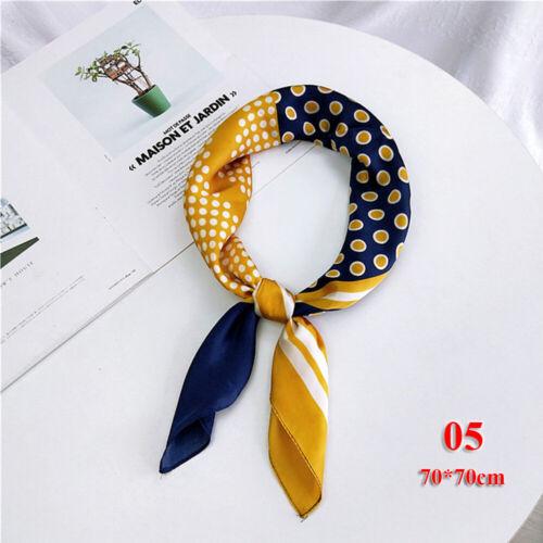 Small Vintage Floral Silk Feel Satin Head Neck Wrap Neckerchief Square Scarf