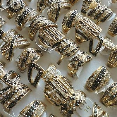 5pcs  Rhinestone Top gold Plated Rings wholesale jewelry lots free shipping