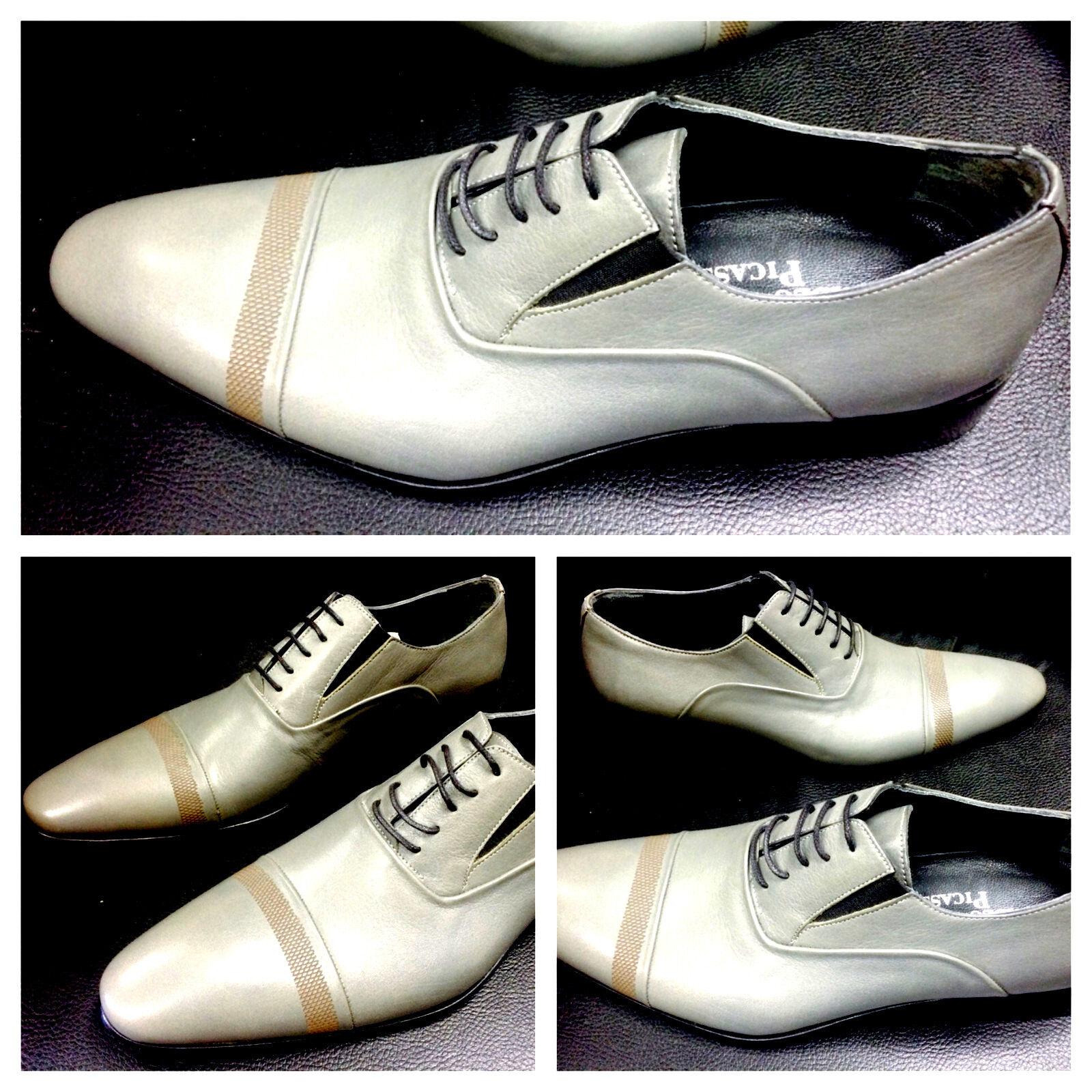 Pablo Picasso Italiana Diseñador Zapatos Handmade gris Negocios Zapatos
