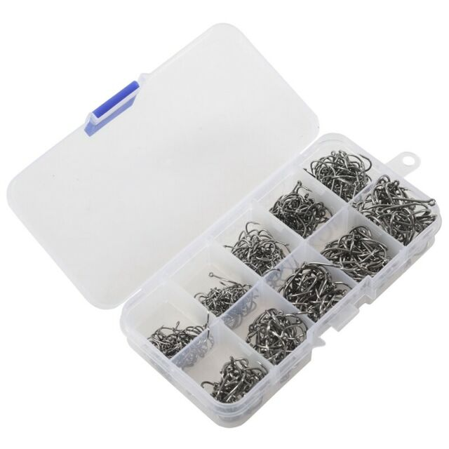 500pcs Fish Jig Hooks with Hole Fishing Tackle Box 10 Sizes Carbon Steel M3E4