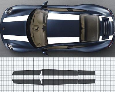 Fits Porsche 911 997 Bonnet roof Boot Spoiler Stripe Decal Set Plain 911R style