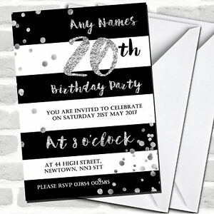 Image Is Loading Black White Silver Confetti 20th Birthday Party Invitations