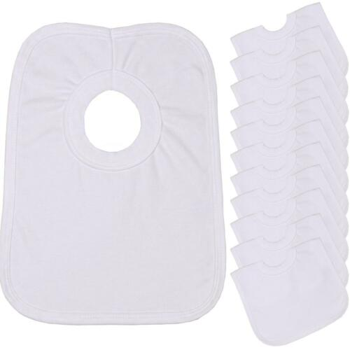 BabyPrem Pack 12 Large White Cotton Pop Over Baby Feeding Dribble Bibs One Size