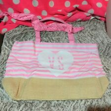 Victoria Secret Tote Bag WhiteW/Pink Stripes & Hankerchief! Knit Mesh Tan Bottom