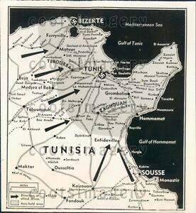 Details about 1953 WWII Map Activity in Tunisia North Africa Press Photo