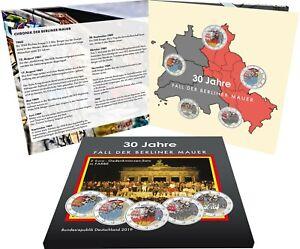 Deutschland-5-x-2-Euro-2019-Mauerfall-Komplettsatz-A-D-F-G-J-im-Folder-IN-FARBE