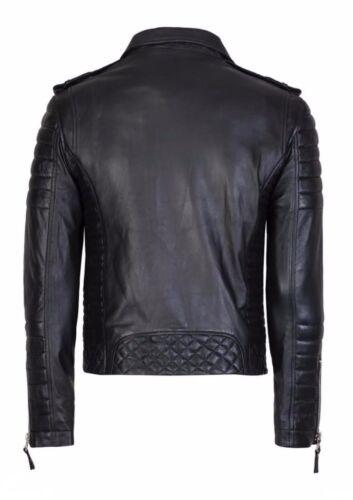 Men/'s Diamante Trapuntato Moto In Pelle Morbida Nero Slim Fit Giacca Da Motociclista-Nuovissimo con etichetta