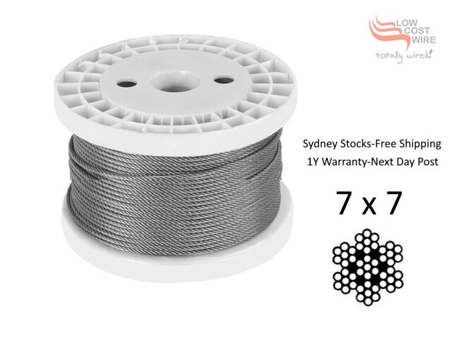 100 M Marine Stainless Steel G16 Wire Rope Cable Balustrade Decking 7x7 3.2 mm