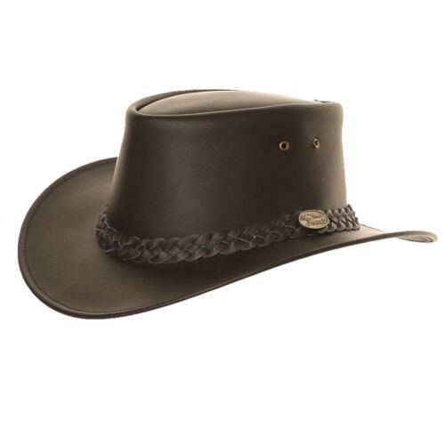 New Adult Unisex Black Cowboy Leather Australian Style Hat 4 Sizes