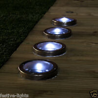 SOLAR POWERED OUTDOOR GARDEN DECK DRIVEWAY STAINLESS STEEL PATH LED SPOT LIGHTS