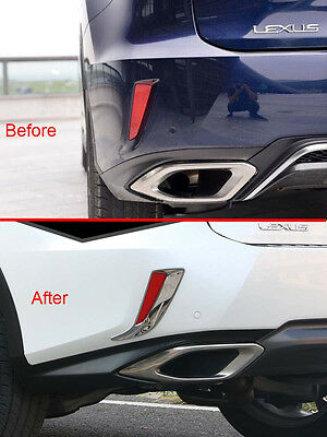 2x Car Chrome Car Rear Bumper Fog Light Cover Trim For Mazda 3 Axela 14-15 Sedan