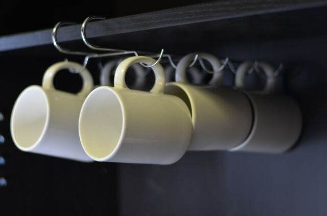 Under Shelf Mug Cup Rack Metal Chrome Storage Holder for Kitchen Pantry Cupboard