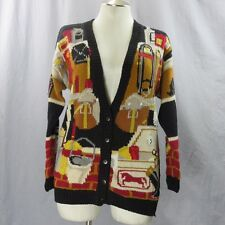 Horse Barn Tack Room Cardigan Ugly Sweater Medium Miller's Sportific Collection