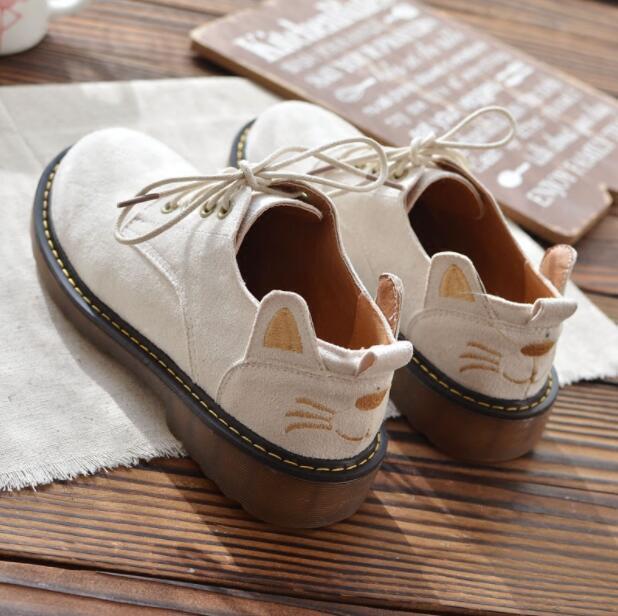 Mujer Bonito Gato Bordado Mary Jane Jane Jane con Cordones Zapatos Oxford Collegiate Lolita bota  costo real
