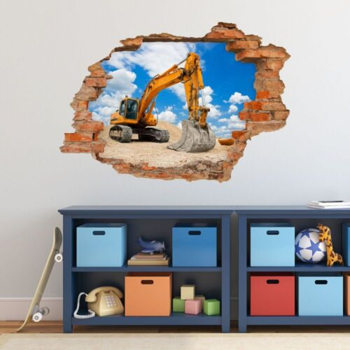 Loch in der Wand nikima 049 Wandtattoo Bagger Baustelle Kinderzimmer Junge