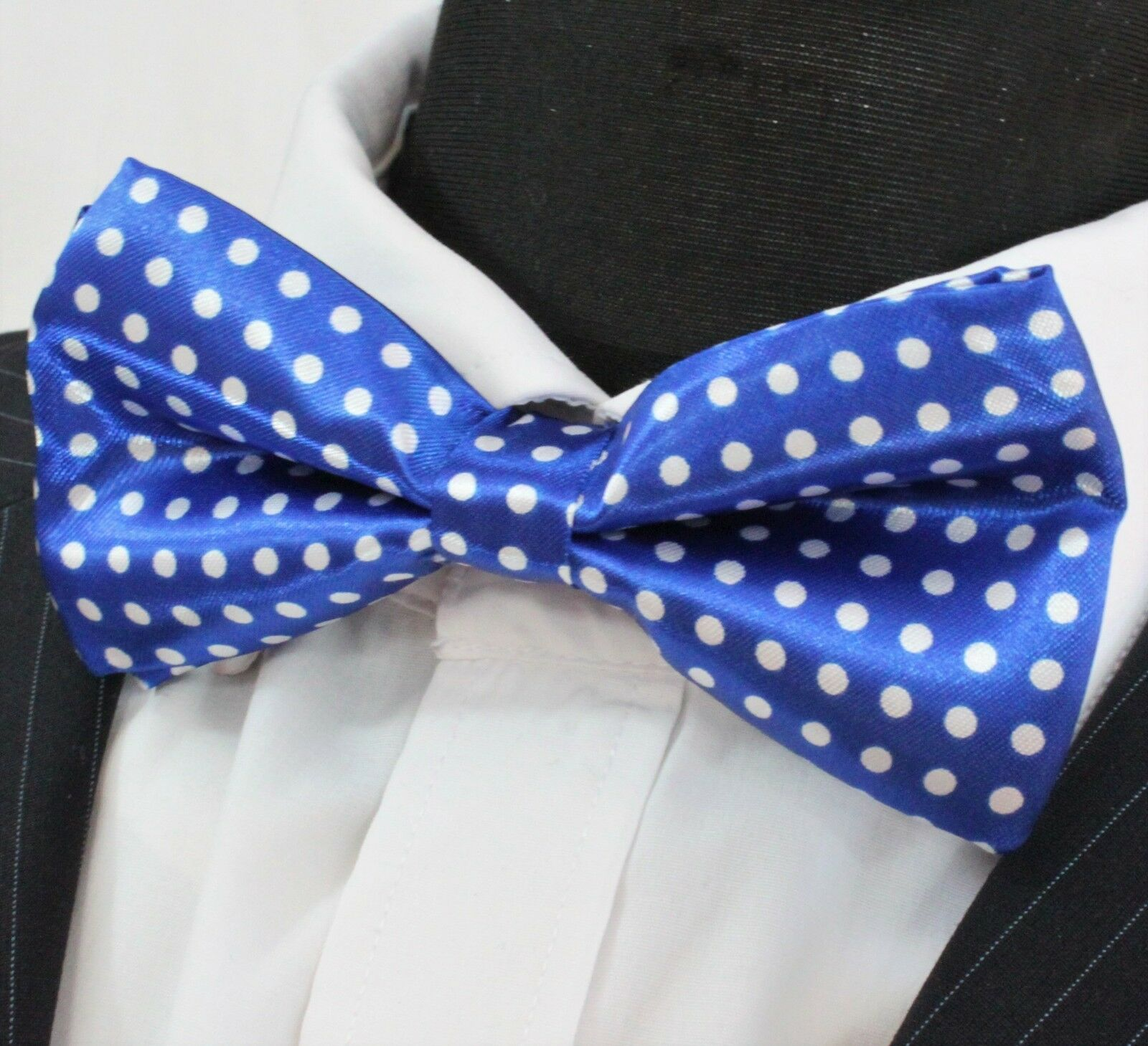 Bow Tie. Bright Blue with White Polka Dot. Premium Quality. Pre-Tied. YT09