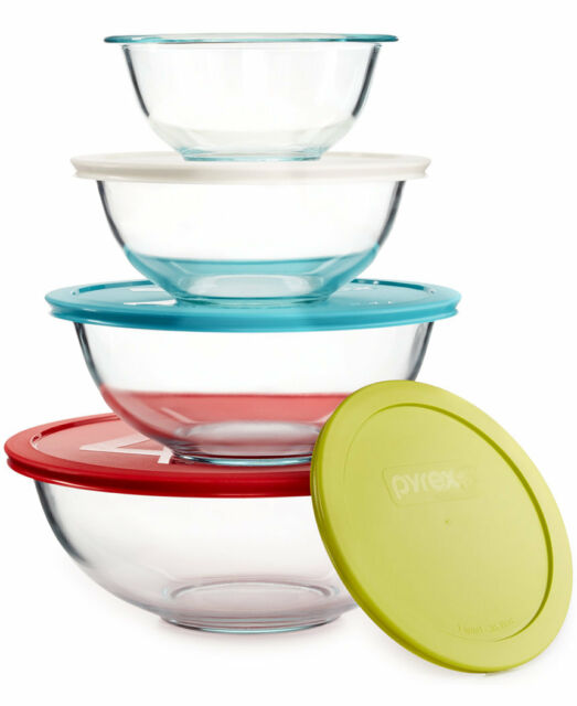 PYREX 8 Piece Glass Storage Mixing Bowl Set With Colored Lids ...