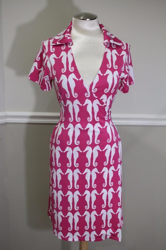Tracy Negoshian Pink Seahorse Ria Wrap Dress Size  S ( DR 300)