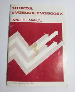 honda generator em3500x em3500sx owners manual 1986 100805 ebay rh ebay com Honda Generator EM3500S VIN Numbers Honda Generator Parts