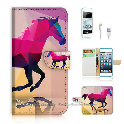 ( For iPod 5 / itouch 5 ) Flip Case Cover! Abstract Horse P0216