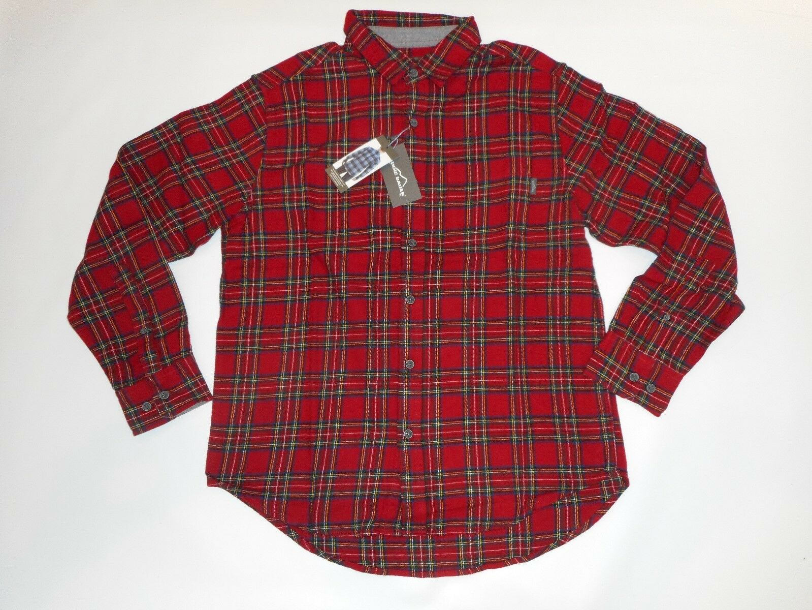 735e26216 EDDIE BAUER Long Sleeve Red Northpole Plaid BRISTOL Flannel SHIRT Mens  LARGE NEW