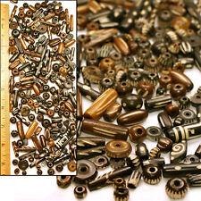 WHOLESALE 1/3 LB Fancy Carved Brwn Antiqued Batik Mud Cloth Bone Beads 150-200pc