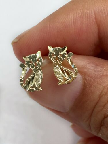14k Solid Yellow Gold Cat Kitty Stud Earrings Men//Women//Children Push Back 11MM